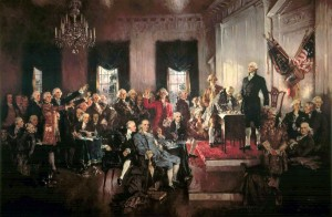Scene at the signing of the US Consititution
