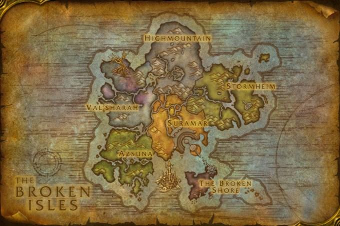 The Broken Isles - Legion ile beraber oyuna eklenen yeri haritamız.