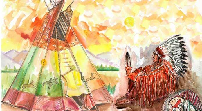 Hayalet Seremonisi - Aylık Öykü Seçkisi'nin Kızılderili temalı Mayıs sayısının bu harika çizimi Şerife Sayın ve Ali Nakuş'a ait.