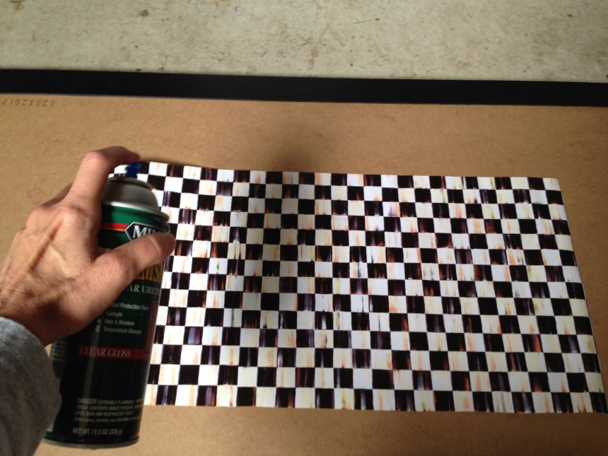 spray adhesive, mackenzie-childs giftwrap, minwax, spar varnish