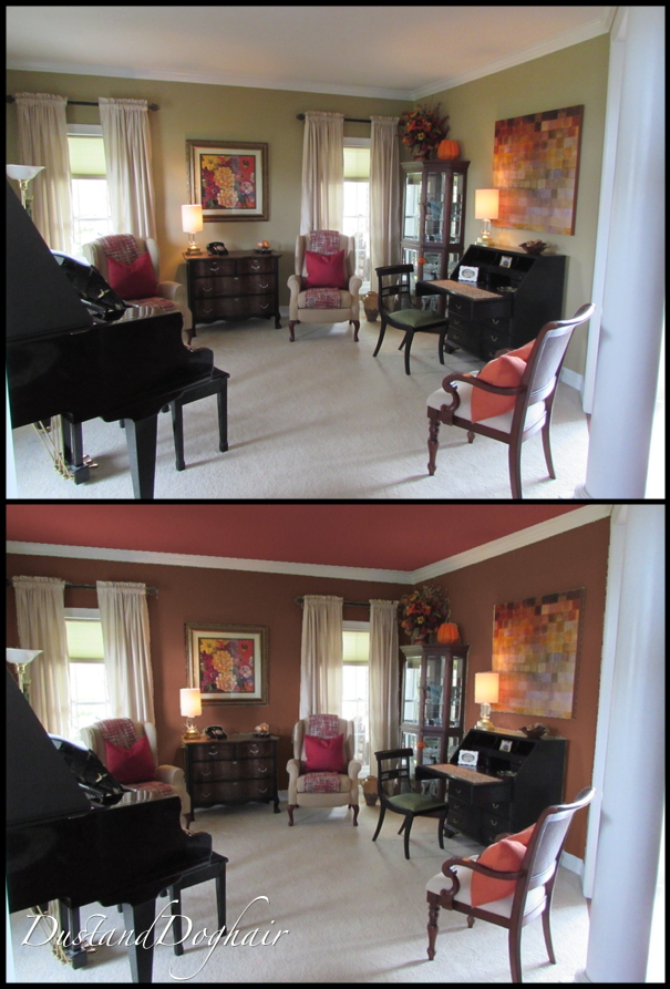 Living room, piano room, color selection, updating room, fall decor, seasonal colors, brown walls