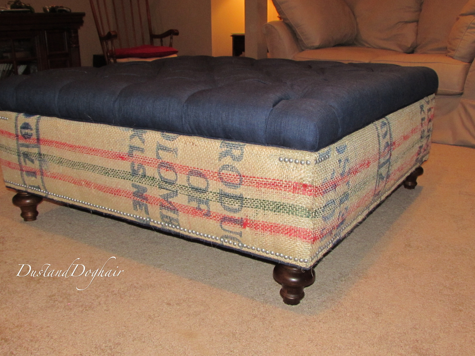 DIY Tufted Top Storage Ottoman with Repurposed Coffee Sacks