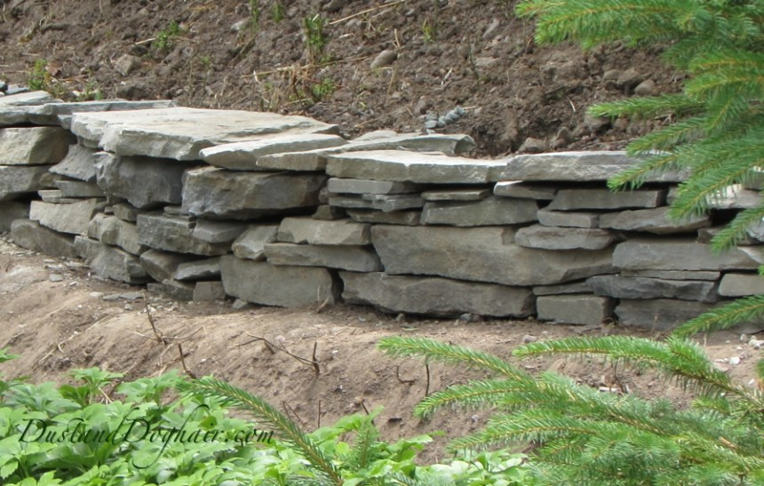 DIY Stacked Stone retaining wall