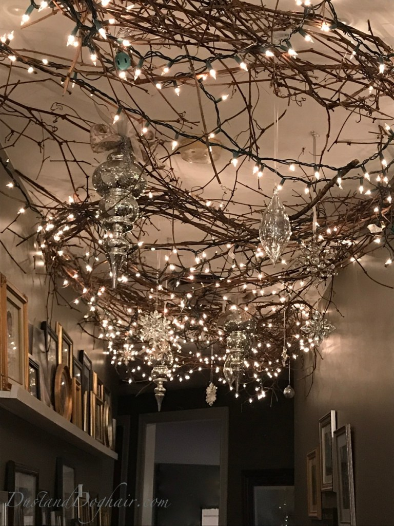Holiday ceiling, christmas lights, decorated ceiling, command hooks, christmas ornaments