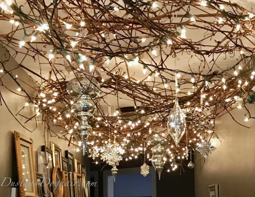 decorated Christmas ceiling, mercury ornaments, christmas lights, vickerman ornaments. string lights, white lights
