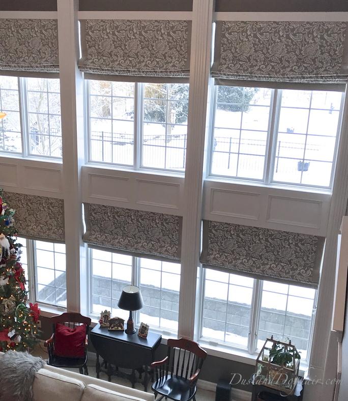 two-story window, window wall, roman shade, window treatments, blackout shades, DIY custom window treatment