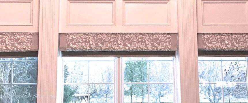 grey window treatments, roman shades, banded shades, window wall, two story windows, DIY window treatments, custom roman shades