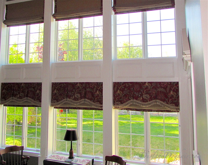 shaped valance, trimmed valance, monkey print, red valance, pleated valance, window treatments, tall windows, window wall