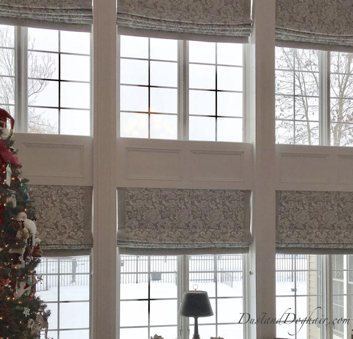 gray window treatments, roman shades, banded shades, window wall, two story windows, DIY window treatments, custom roman shades