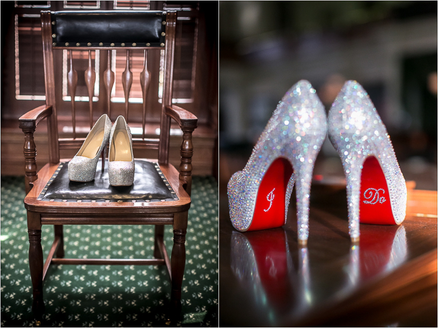 Super cute sparkle wedding bridal heels with custom Louboutin souls.
