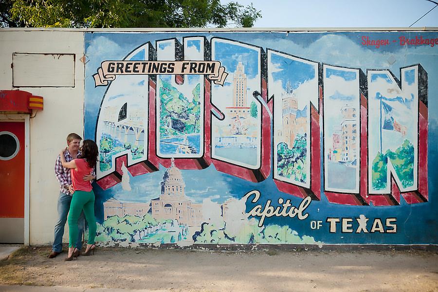 Austin postcard mural engagement portraits