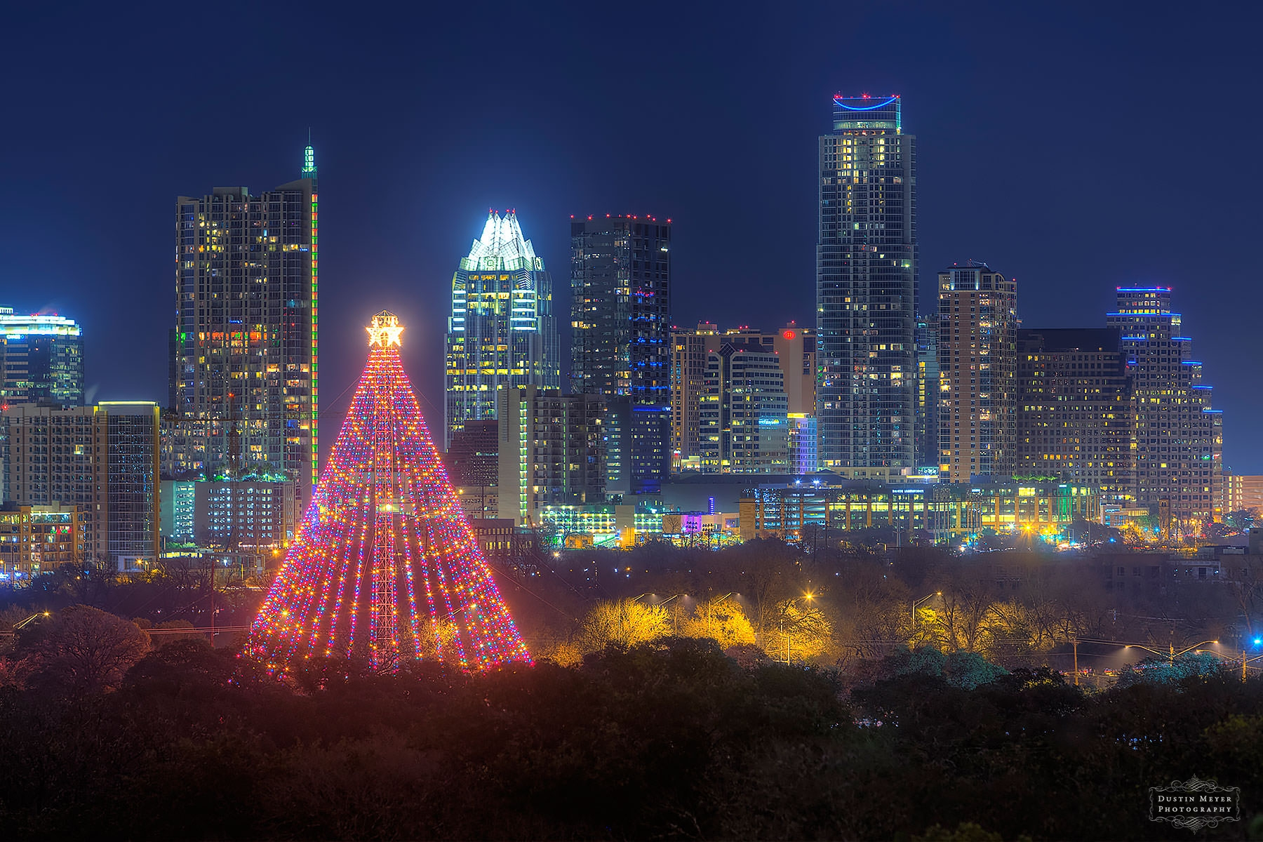 Zilker christmas tree downtown Austin skyline