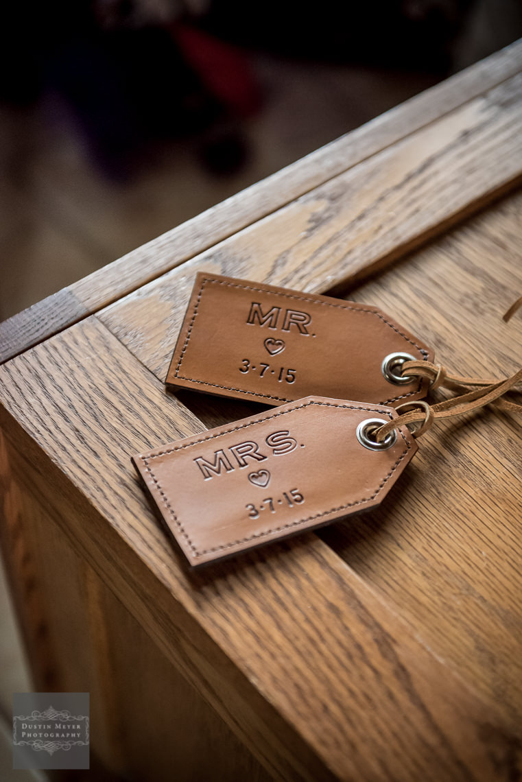 custom wedding leather luggage tags photography hill country wedding
