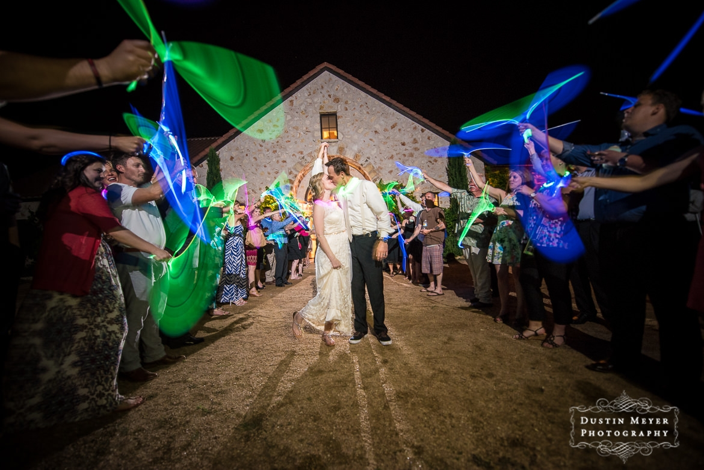 wedding grand exit ideas neon glow sticks