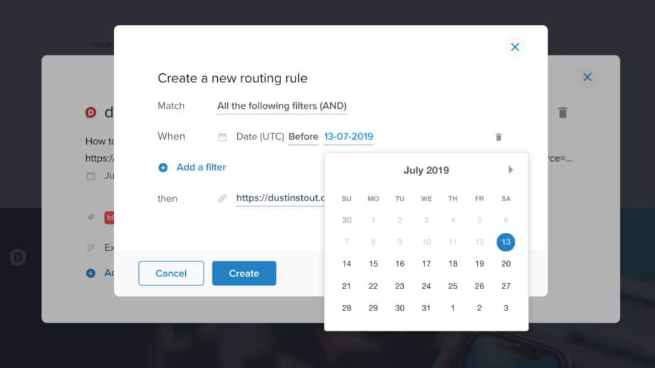 choose date for routing