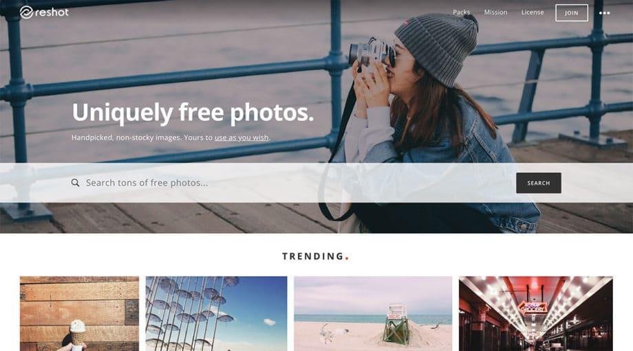 reshot free photos screenshot