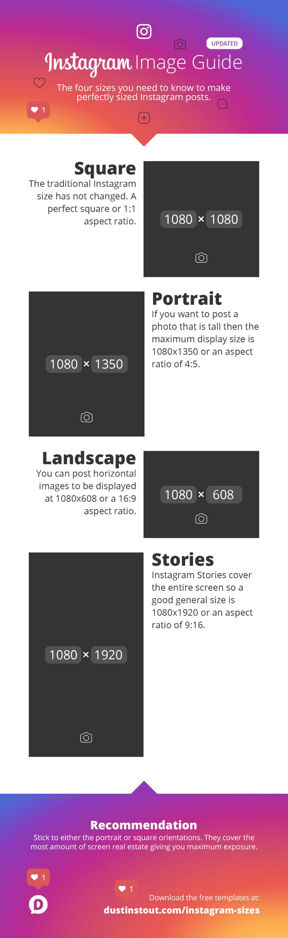 instagram image sizes infographic