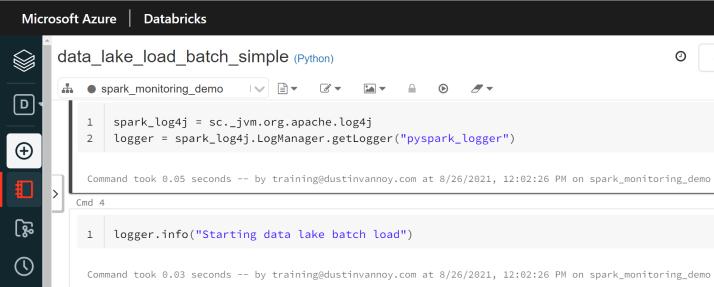 """Code snippet for using Log4j manager: spark_log4j = sc._jvm.org.apache.log4j logger = spark_log4j.LogManager.getLogger(""""pyspark_logger"""") logger.info(""""Test log message"""")"""
