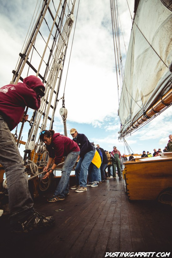 Working together to raise the sails