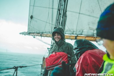 Smiles in a rain squall, not everyday you get to be on board a tall ship.