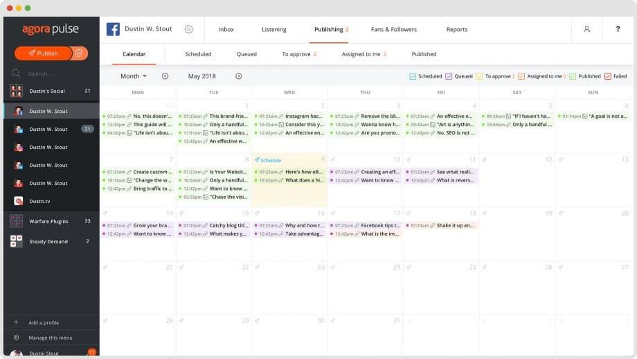 Agorapulse social media calendar
