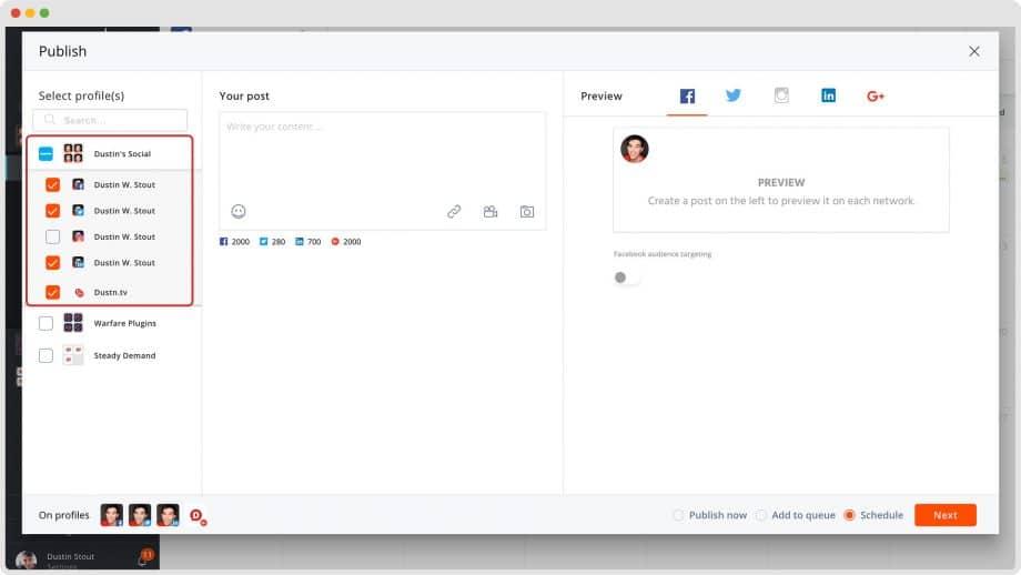 Agorapulse select social media profiles interface