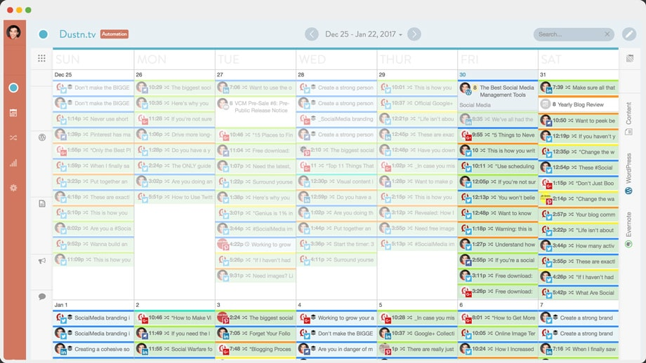 CoSchedule marketing calendar view