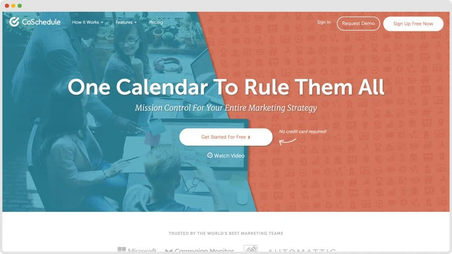 CoSchedule home page