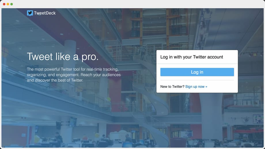TweetDeck home page