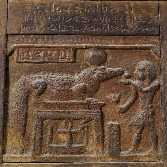 Pharaoh making an offering to the crocodile-god Sobek