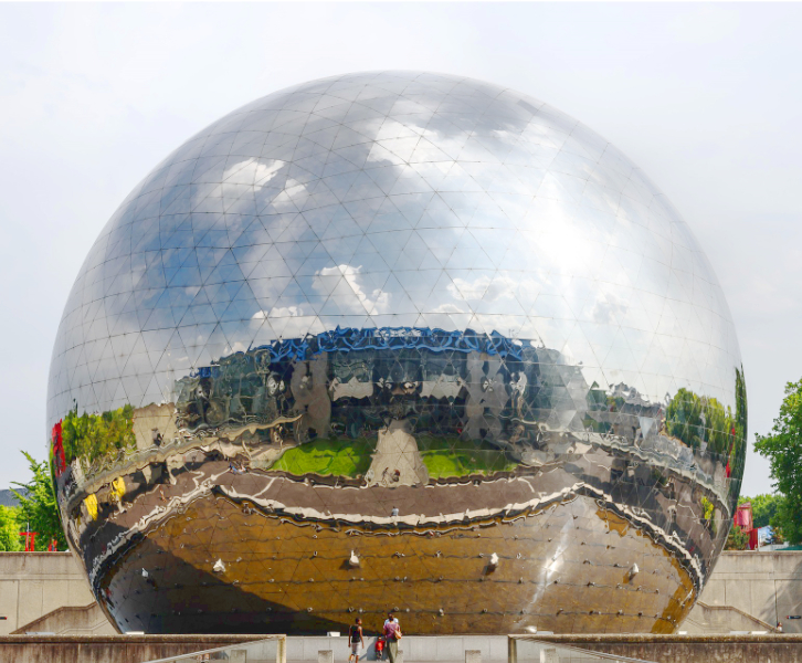 A mirrored sphere in La Villette