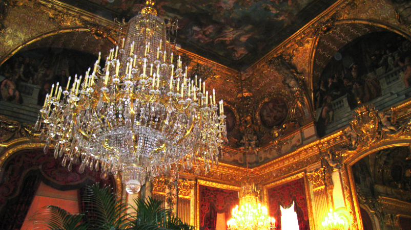 The Grand Chandelier in Napoleon III's apartments inside the Louvre Museum.