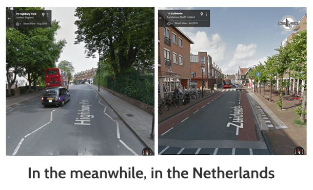 Highbury versus Landsmeer centre, near Amsterdam (20 minutes from the centre), 14 m wide busy high street, with bus stops and live information, clear bicycle lanes, large side walks and bike racks (Google Street View)