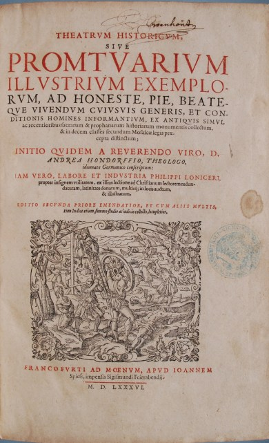 Andreas Hondorff, 1586 (Jaspers & Meeder, #18)