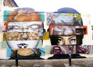 Street art by Bom.K and Liliwen on Hanbury Street in Shoreditch, East London