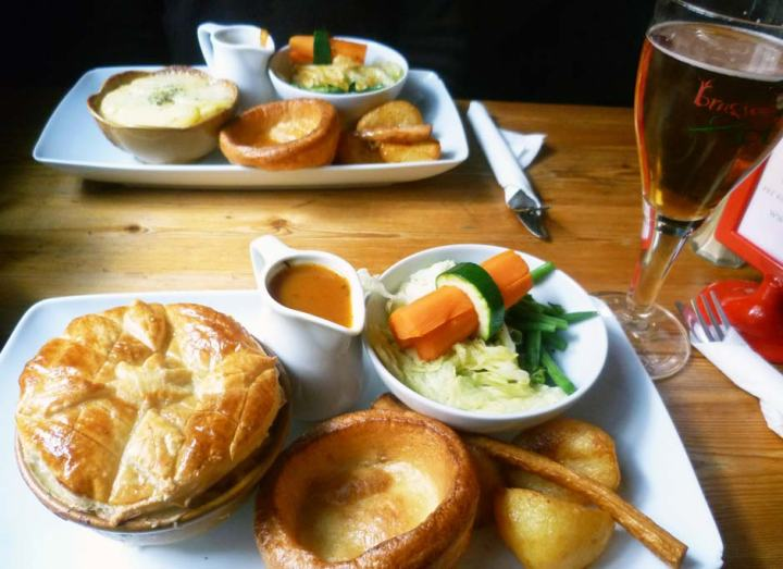 Sunday roast with a meat pie at The Dove pub in Broadway Market, London