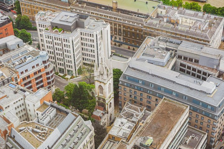 View from above of the ruins of St Dunstan in the East London