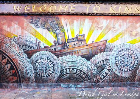 Beau Stanton mural on restaurant Kinkao on Pedley Street in Shoreditch