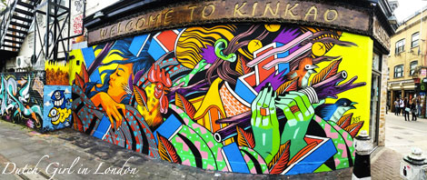 BSF mural on restaurant Kinkao on Pedley Street in Shoreditch