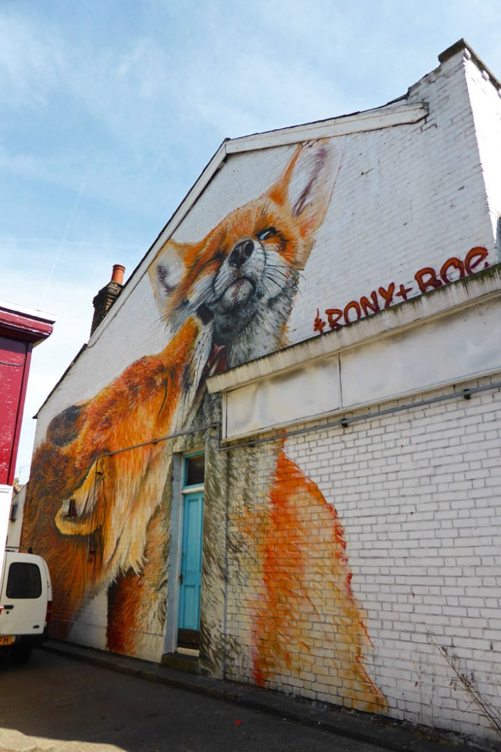 Irony and Boe mural in Walthamstow