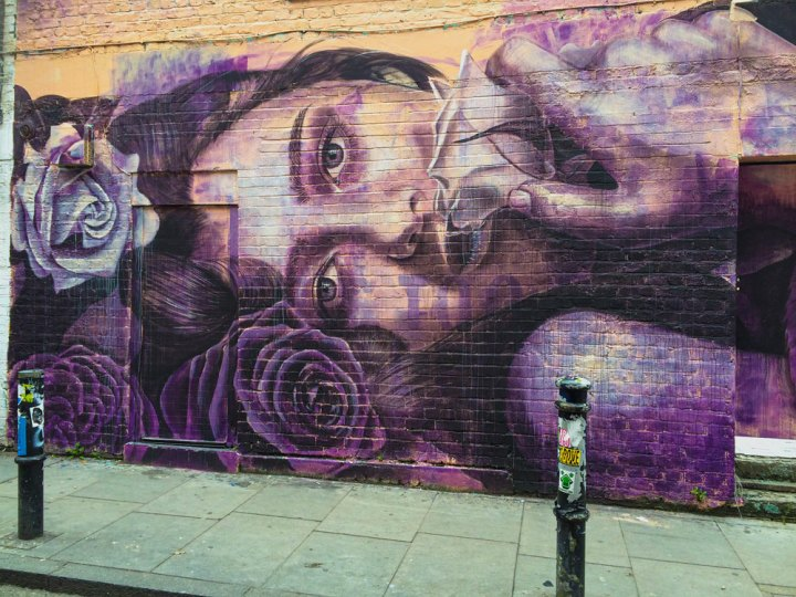 work by Australian street artist RONE on Hanbury Street