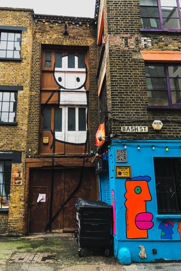 Mural by Stik on Rivington Street in Hackney