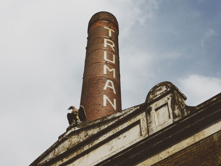 the black eagle and chimney of the old Truman Brewery in Brick Lane