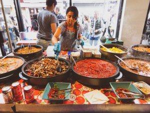 Tuck into incredible street food at the Brick Lane Sunday Upmarket