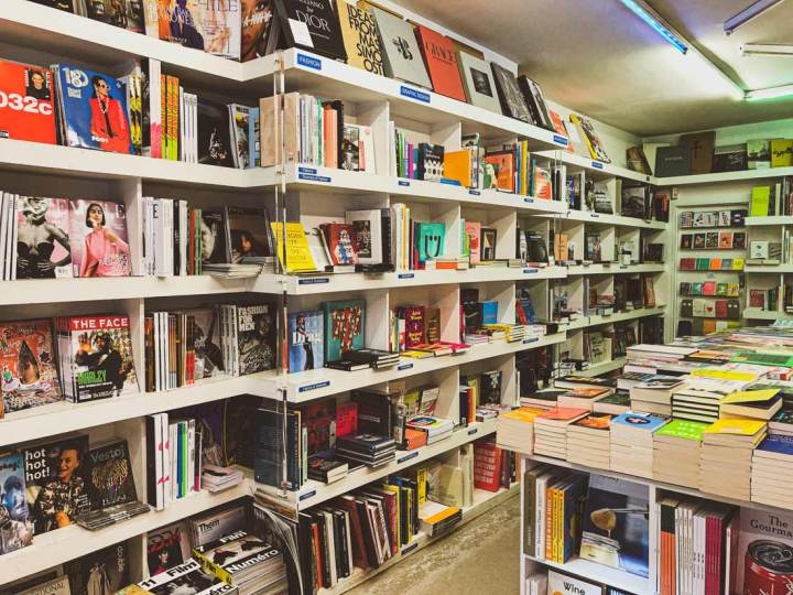 Book displays in Artword Bookshop in Rivington Street, East London