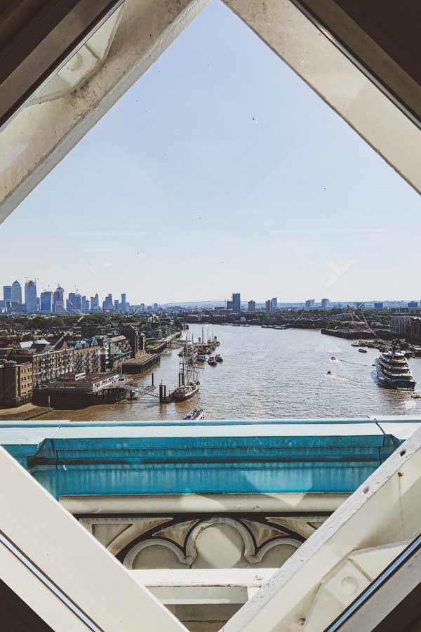 Views of the Thames from Tower Bridge, London, overlooking