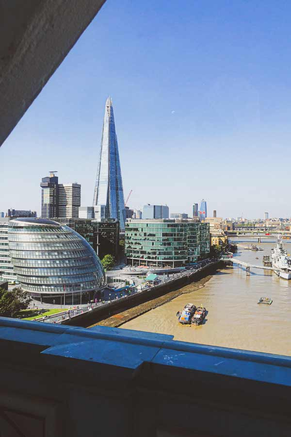Views of the Thames from Tower Bridge, London, overlooking City Hall and the Shard