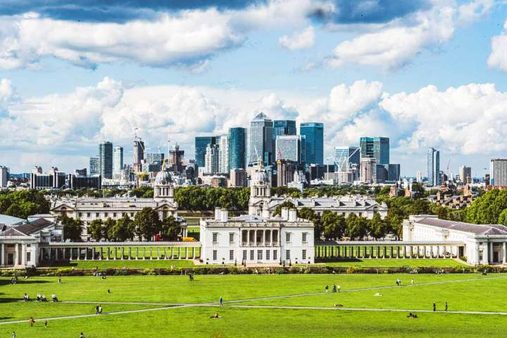View of the Maritime Greenwich World Heritage Site in London seen from the hill in Greenwich Park