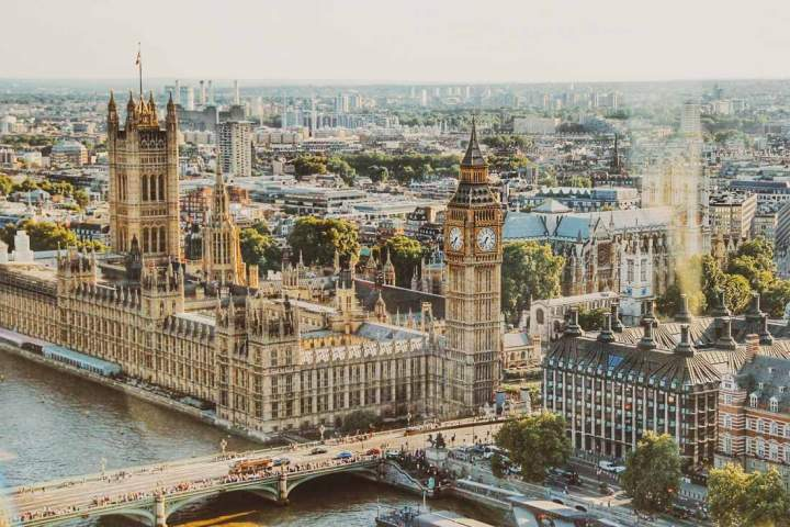 aerial view of the Palace of Westminster taken from London Eye