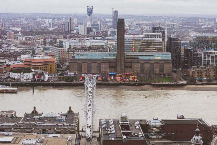 Tate Modern and Millennium Bridge aerial shot taken from St Paul's Cathedral